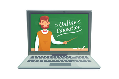 Online teacher education. Professor teach at school blackboard on lapt
