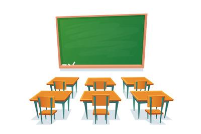 School chalkboard and desks. Empty blackboard, classroom wooden desk a