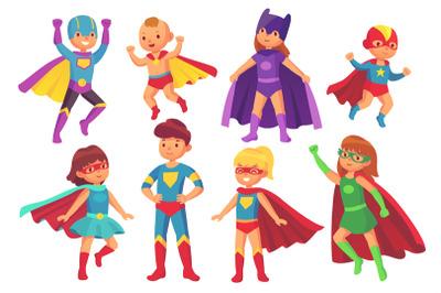 Cartoon superhero kids characters. Joyful kid wearing super hero costu