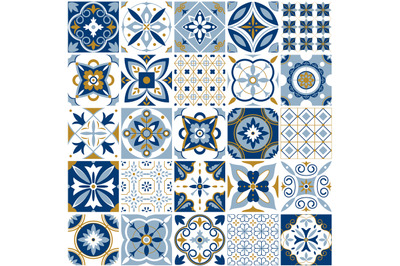Moroccan pattern. Decor tile texture with blue ornament. Traditional a