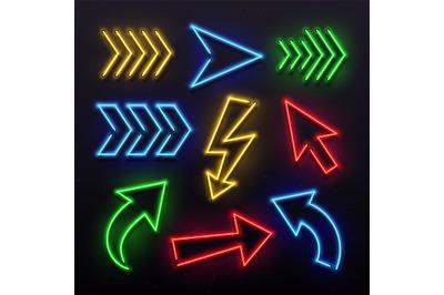 Realistic neon arrows. Night arrow sign lamp lights. Shining arrowhead