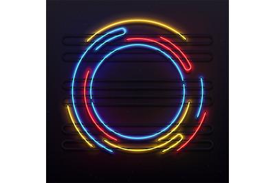 Circle neon lights frame. Colorful round tube lamp light on frame. Ele