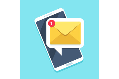 Flat email notification on smartphone. Sms icon or mail message remind