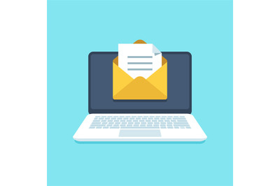 Document email on notebook. Mail letter with documents for signing on