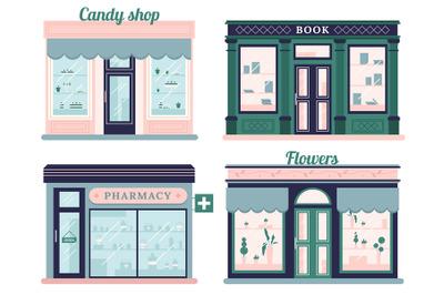 Modern stores set. Candy shop facade and urban book store. Local retai