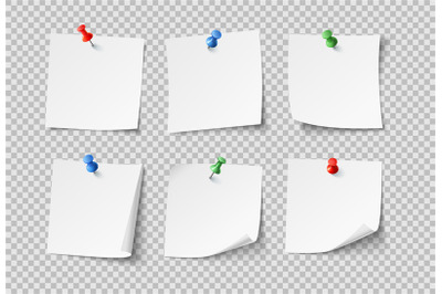Note papers. White blank sticky notes with color pins. Nobody paper ve