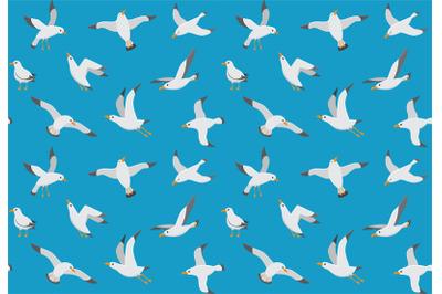 Seagulls seamless pattern. Cartoon gull flying over sea. Marine vector