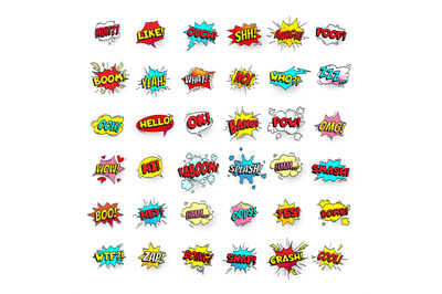 Comic bubbles. Cartoon text balloons. Pow and zap, smash and boom expr