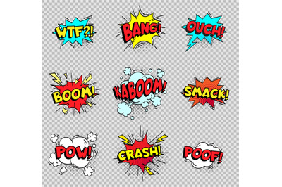 Comic speech bubbles. Cartoon explosions text balloons. Wtf bang ouch