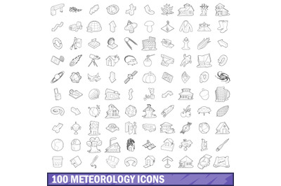 100 meteorology icons set, outline style