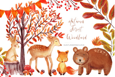 Autumn Forest Woodland clipart, Watercolor Bear deer Clipart