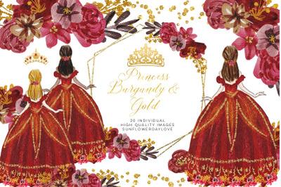 Quinceanera clipart, Floral Princess Burgundy & Gold