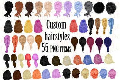 Custom Hairstyles Clipart,Hair clipart,Womans Hair Clipart