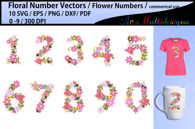 floral numbers clipart / floral numbers svg / flower numbers svg