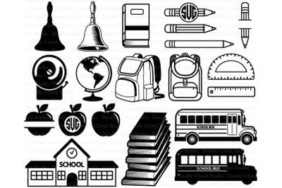 School Supplies SVG Bundle Files. Back to School svg