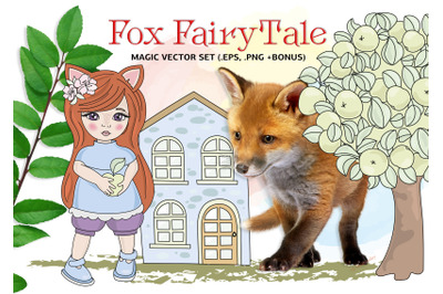 FOX FAIRY TALE Cartoon Clipart Vector Illustration Set