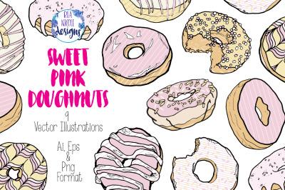 Sweet Pink Doughnuts