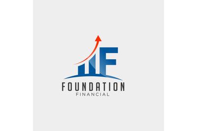 initial F financial statistic logo design vector