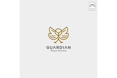 luxury owl monoline logo vector with gold color