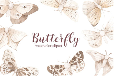 Watercolor monochrome Butterfly Set