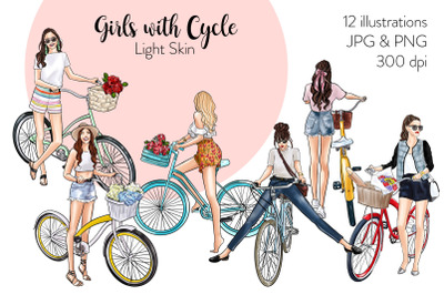 Watercolor Fashion Clipart - Girls with Cycle - Light Skin