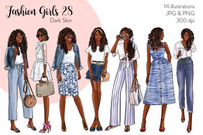 Watercolor Fashion Clipart - Fashion Girls 28 - Dark Skin