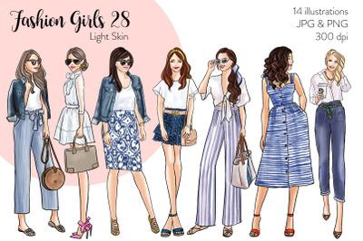 Watercolor Fashion Clipart - Fashion Girls 28 - Light Skin