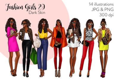 Watercolor Fashion Clipart - Fashion Girls 29 - Dark Skin