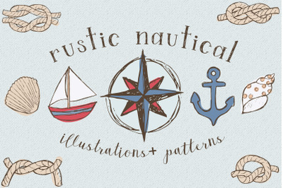 Rustic Nautical Illustration and Patterns
