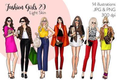 Watercolor Fashion Clipart - Fashion Girls 29 - Light Skin