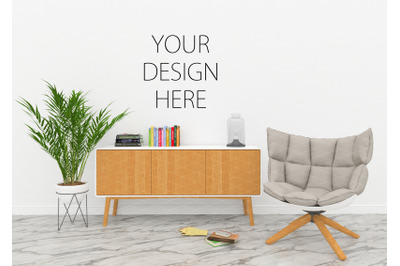 Interior scene mockup - artwork background - blank wall
