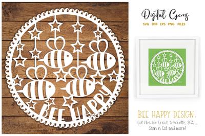 Bee happy paper cut design