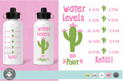 Water levels on point svg, water bottle tracker svg