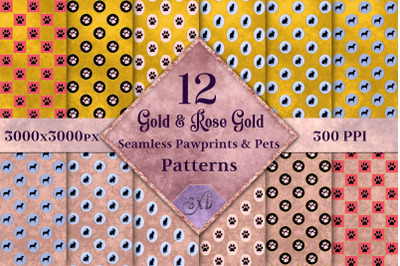 Gold & Rose Gold Seamless Pawprints & Pets Patterns