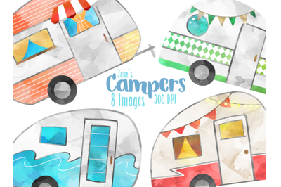 Watercolor Campers Clipart
