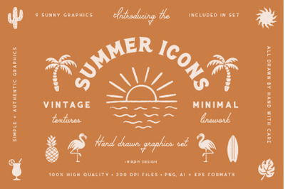 Summer Icons Hand Drawn Graphics Set