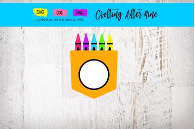 Monogram Crayon Pocket Svg, Back to School Designs, DXF SVG PNG, Art T