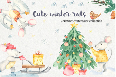 Cute winter rats. Christmas watercolor collection