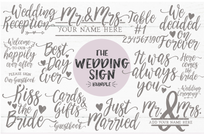 Wedding Sign Quote Bundle - SVG DXF PNG