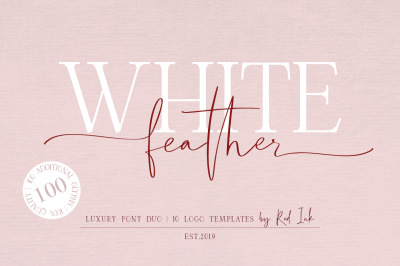 White Feather. Luxury Duo Font.