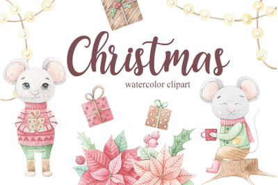 Watercolor christmas mouse set