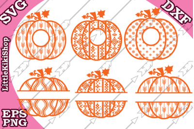 Pumpkin Svg clipart, Pumpkin monogram, Pumpkin split monogra