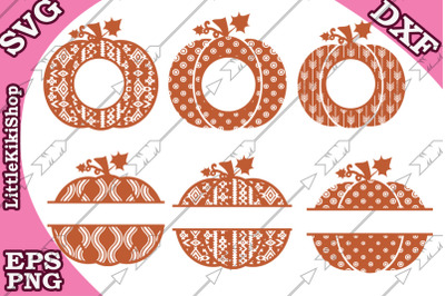 Pumpkin Svg clipart, Pumpkin monogram,Pumpkin split monogram