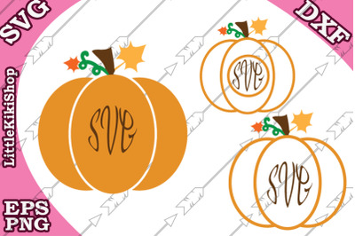 Fall Monogram Svg,Pumpkin monogram, Autumn Svg Fall clipart