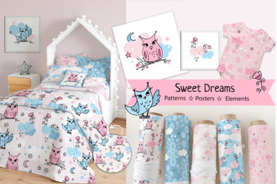 Cute seamless pastel patterns  and cliparts for kids