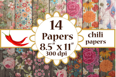 Wood Floral Paper, Floral cottage papers,Vintage Floral A4