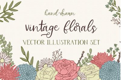 Vintage Florals Vector Illustration Set