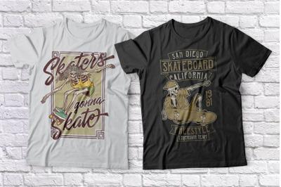 Skateboarding. T-shirts bundle