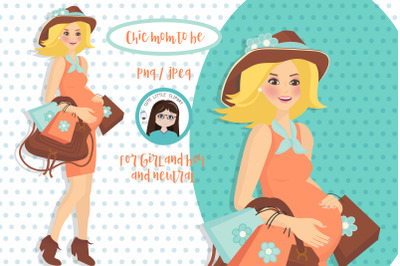 Mom to be Blonde clipart