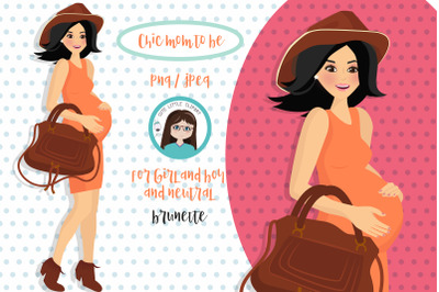 Chic brunette mom to be clipart